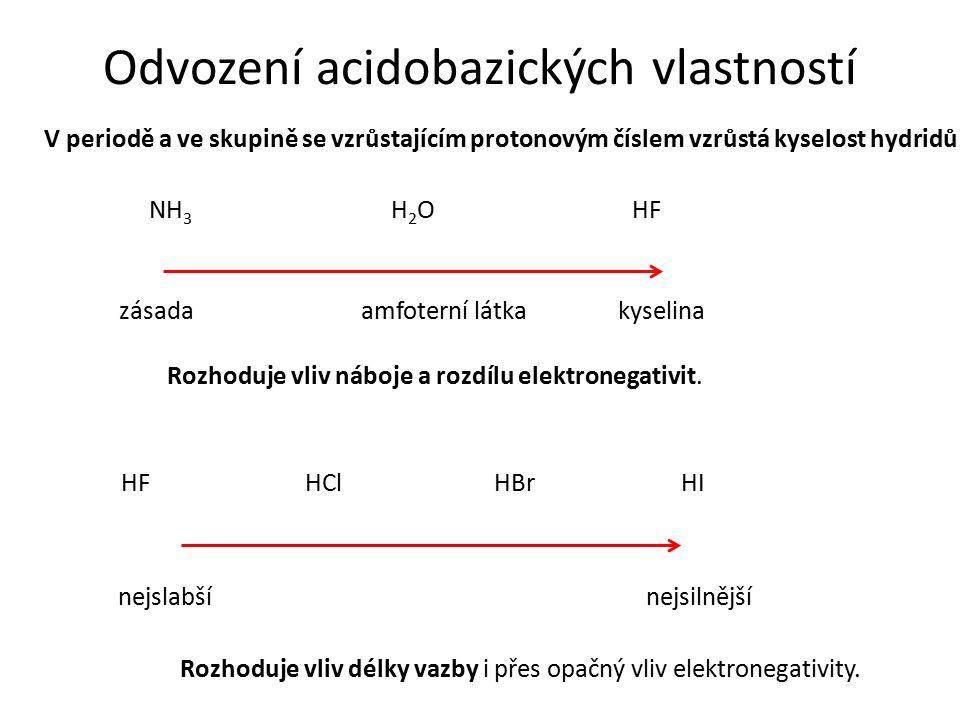 Odvození acidobazických vlastností V periodě a ve skupině se vzrůstajícím protonovým číslem vzrůstá kyselost hydridů. NH 3 H2OH2OHF zásadaamfoterní lá
