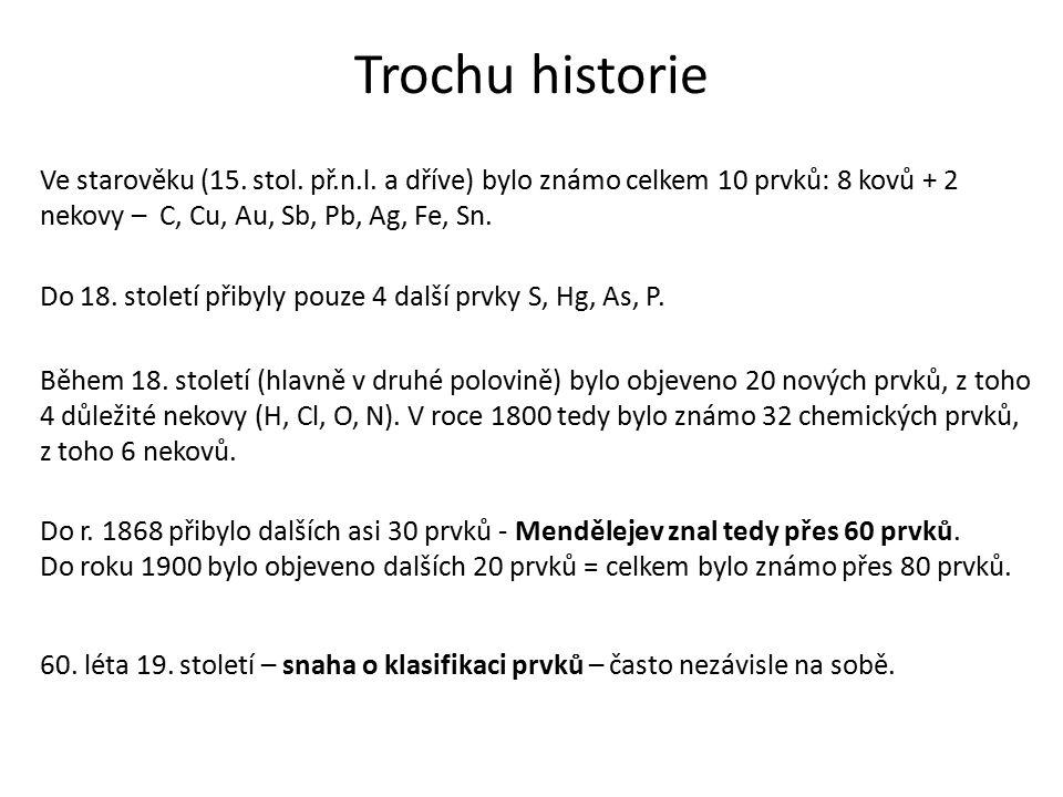 Trochu historie Ve starověku (15. stol. př.n.l. a dříve) bylo známo celkem 10 prvků: 8 kovů + 2 nekovy – C, Cu, Au, Sb, Pb, Ag, Fe, Sn. Do 18. století