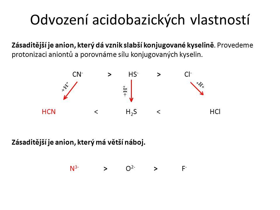 Odvození acidobazických vlastností Zásaditější je anion, který dá vznik slabší konjugované kyselině. Provedeme protonizaci aniontů a porovnáme sílu ko