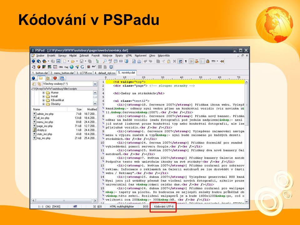 Kódování v PSPadu