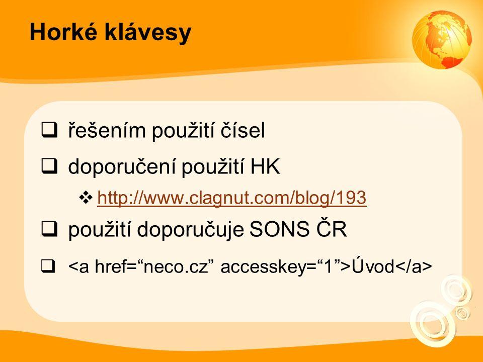 Horké klávesy  řešením použití čísel  doporučení použití HK  http://www.clagnut.com/blog/193 http://www.clagnut.com/blog/193  použití doporučuje SONS ČR  Úvod