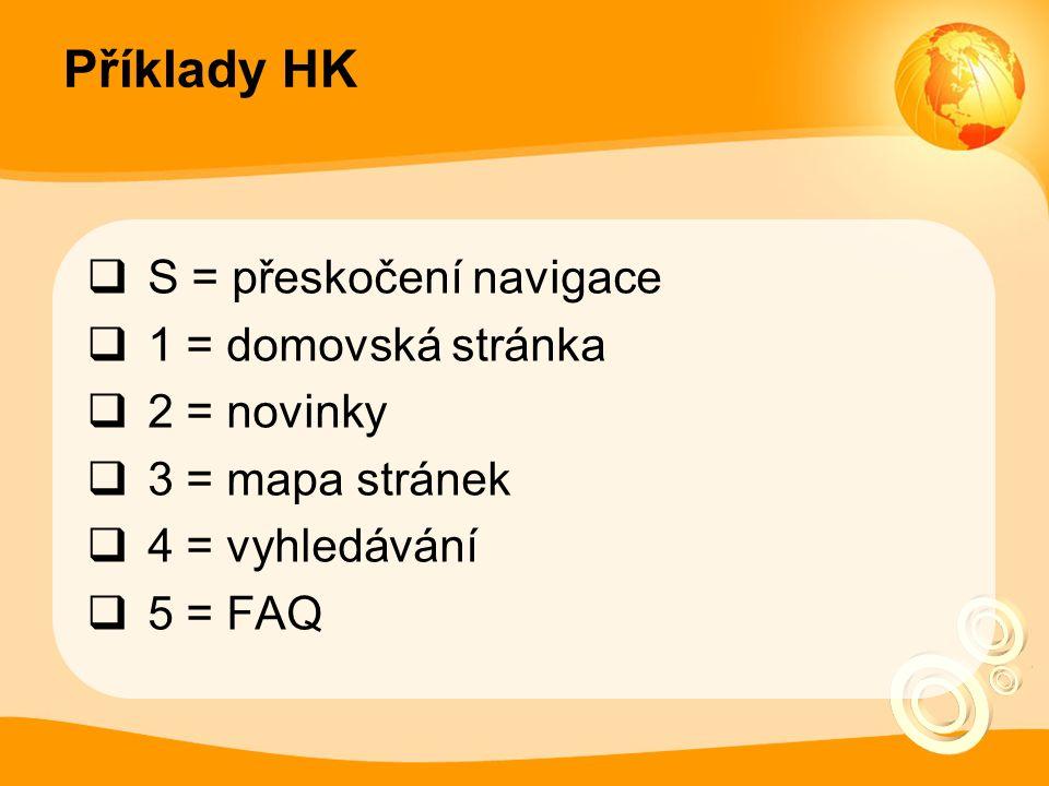 Příklady HK  S = přeskočení navigace  1 = domovská stránka  2 = novinky  3 = mapa stránek  4 = vyhledávání  5 = FAQ