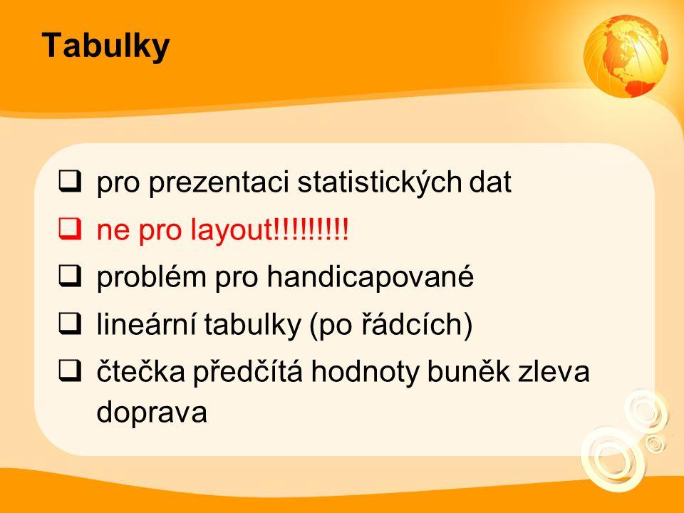  pro prezentaci statistických dat  ne pro layout!!!!!!!!.