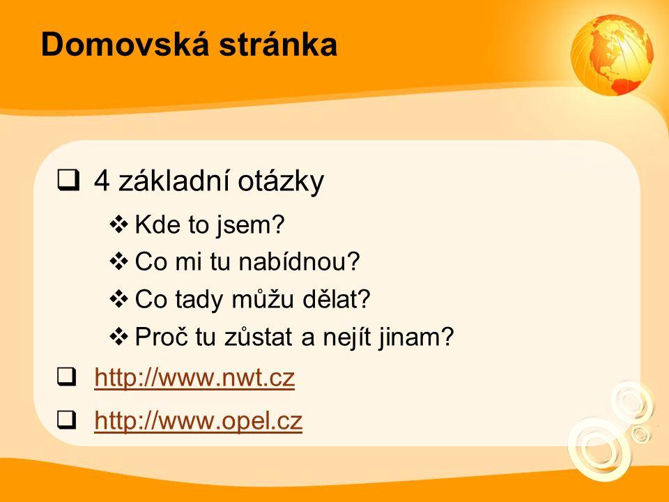 Co na homepage  logo  slogan  novinky  vyhledávání  navigace  služby (registrace, e-shop, …)