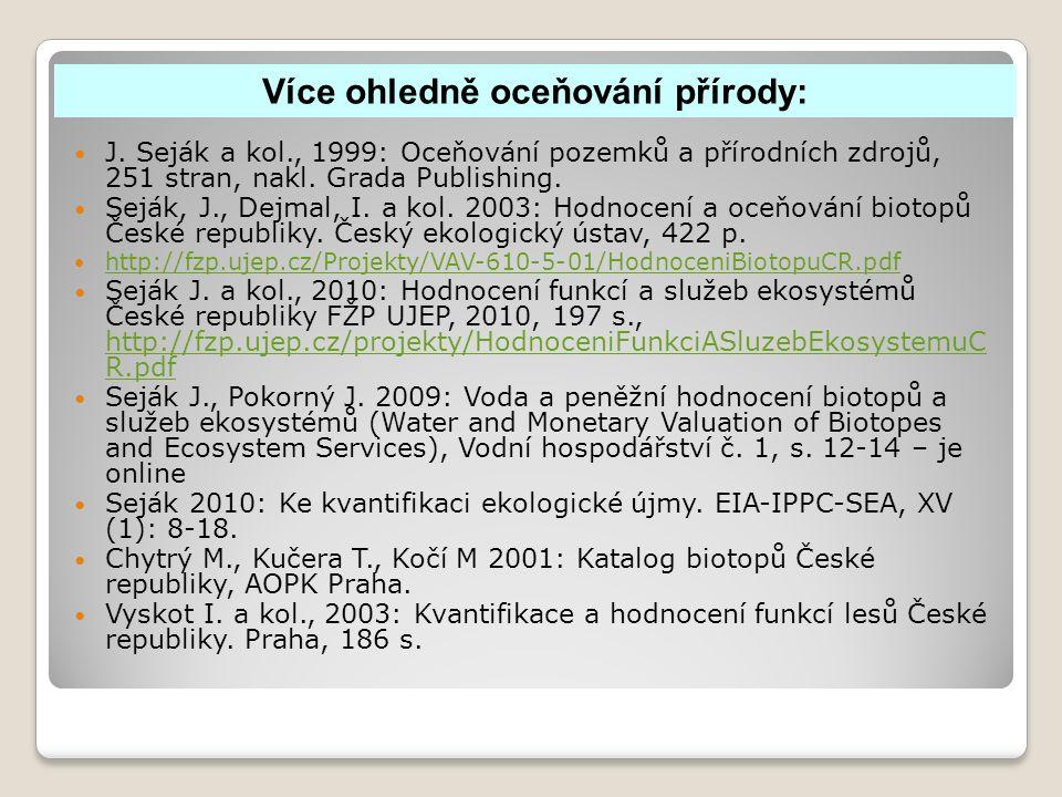 J. Seják a kol., 1999: Oceňování pozemků a přírodních zdrojů, 251 stran, nakl.
