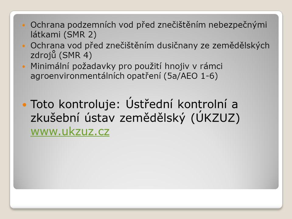 Ochrana podzemních vod před znečištěním nebezpečnými látkami (SMR 2) Ochrana vod před znečištěním dusičnany ze zemědělských zdrojů (SMR 4) Minimální požadavky pro použití hnojiv v rámci agroenvironmentálních opatření (5a/AEO 1-6) Toto kontroluje: Ústřední kontrolní a zkušební ústav zemědělský (ÚKZUZ) www.ukzuz.cz www.ukzuz.cz