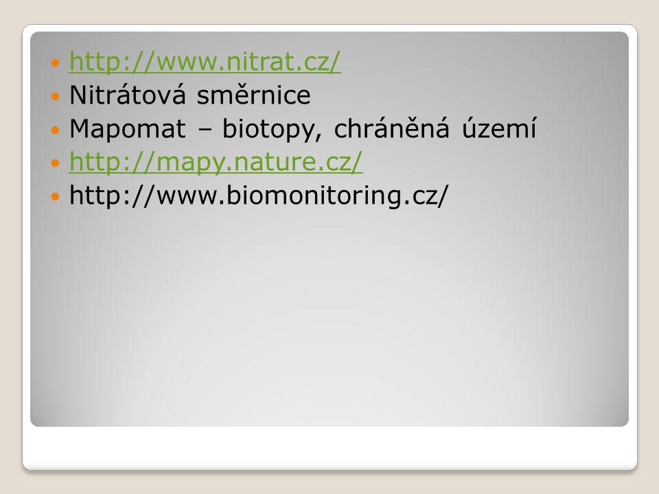 http://www.nitrat.cz/ Nitrátová směrnice Mapomat – biotopy, chráněná území http://mapy.nature.cz/ http://www.biomonitoring.cz/