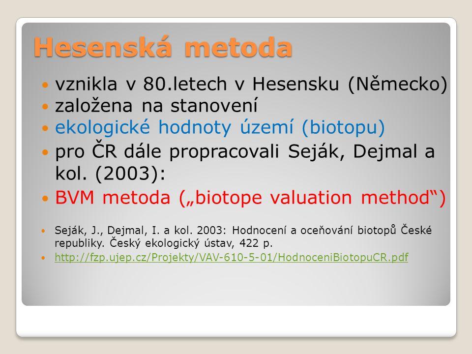 Hesenská metoda vznikla v 80.letech v Hesensku (Německo) založena na stanovení ekologické hodnoty území (biotopu) pro ČR dále propracovali Seják, Dejmal a kol.