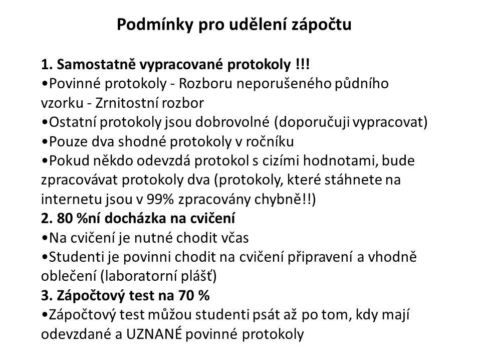 1. Samostatně vypracované protokoly !!.