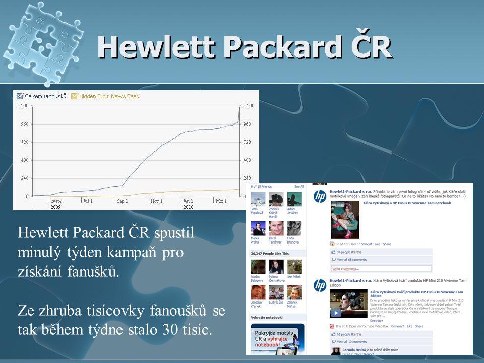 Hewlett Packard ČR Hewlett Packard ČR spustil minulý týden kampaň pro získání fanušků.