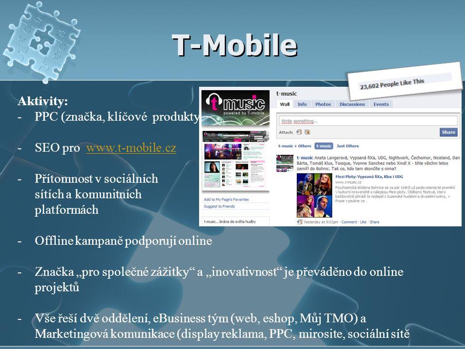 """T-Mobile Aktivity: -PPC (značka, klíčové produkty) -SEO pro www.t-mobile.czwww.t-mobile.cz -Přítomnost v sociálních sítích a komunitních platformách -Offline kampaně podporují online -Značka """"pro společné zážitky a """"inovativnost je převáděno do online projektů -Vše řeší dvě oddělení, eBusiness tým (web, eshop, Můj TMO) a Marketingová komunikace (display reklama, PPC, mirosite, sociální sítě"""