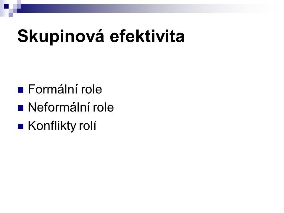 Skupinová efektivita Formální role Neformální role Konflikty rolí
