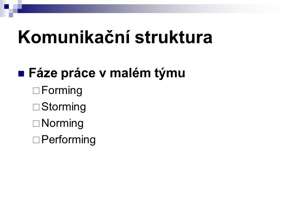 Komunikační struktura Fáze práce v malém týmu  Forming  Storming  Norming  Performing