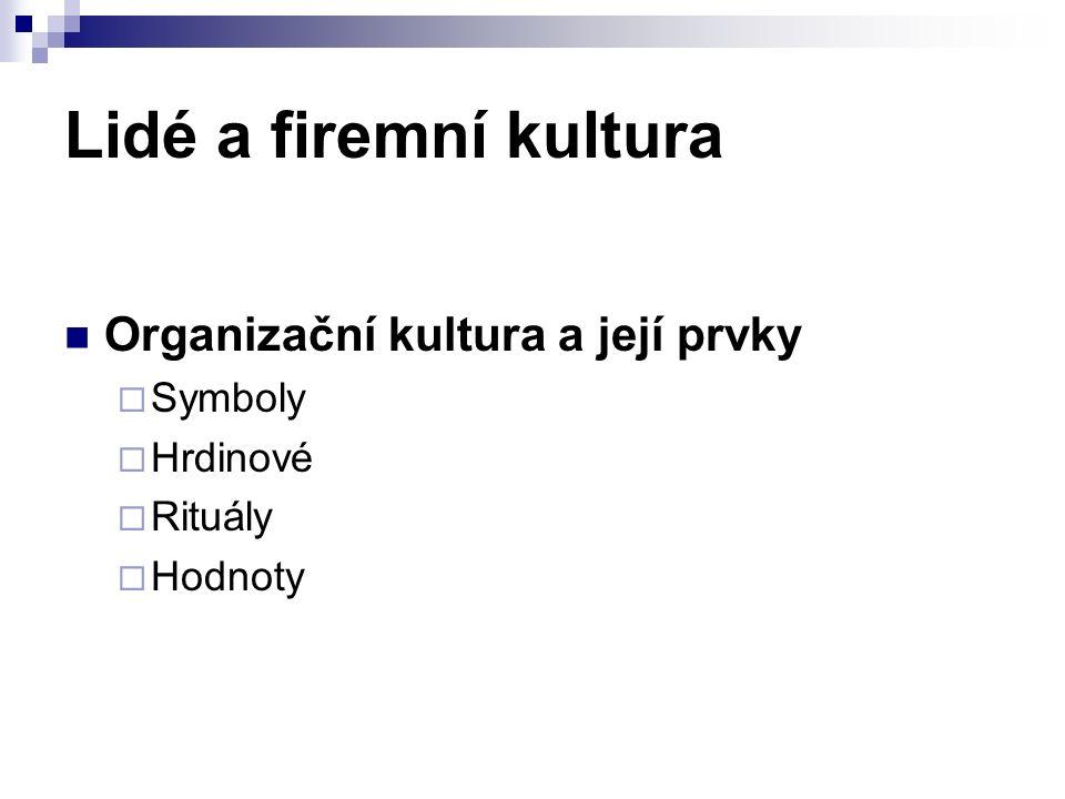 Lidé a firemní kultura Organizační kultura a její prvky  Symboly  Hrdinové  Rituály  Hodnoty