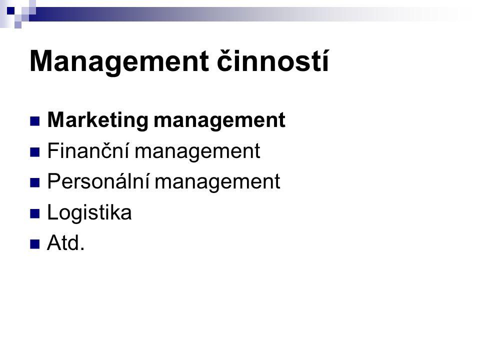 Management činností Marketing management Finanční management Personální management Logistika Atd.