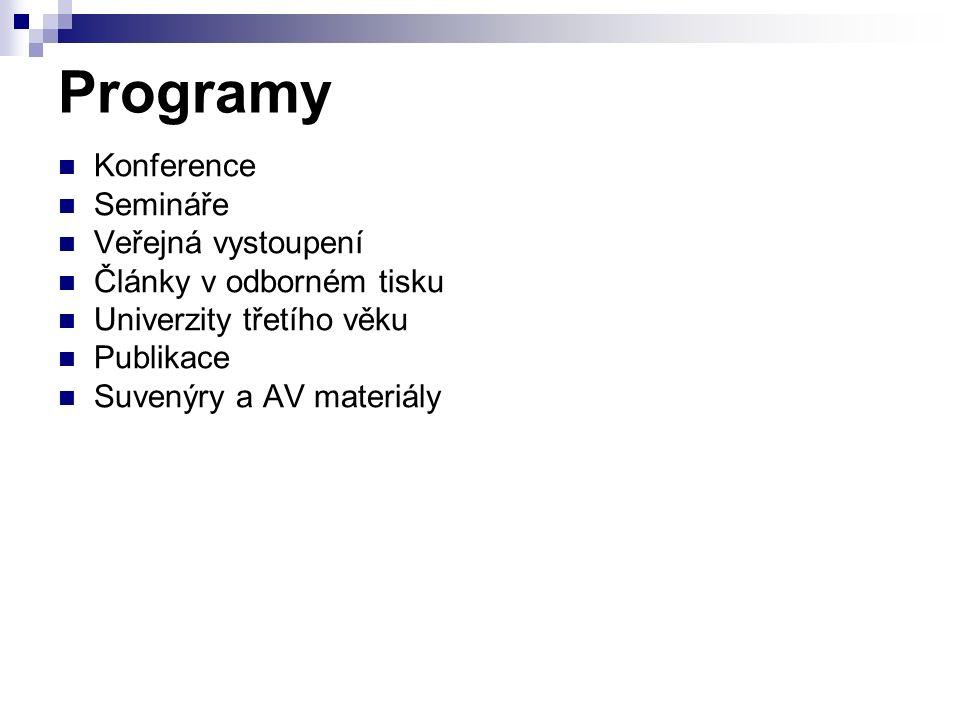Programy Konference Semináře Veřejná vystoupení Články v odborném tisku Univerzity třetího věku Publikace Suvenýry a AV materiály