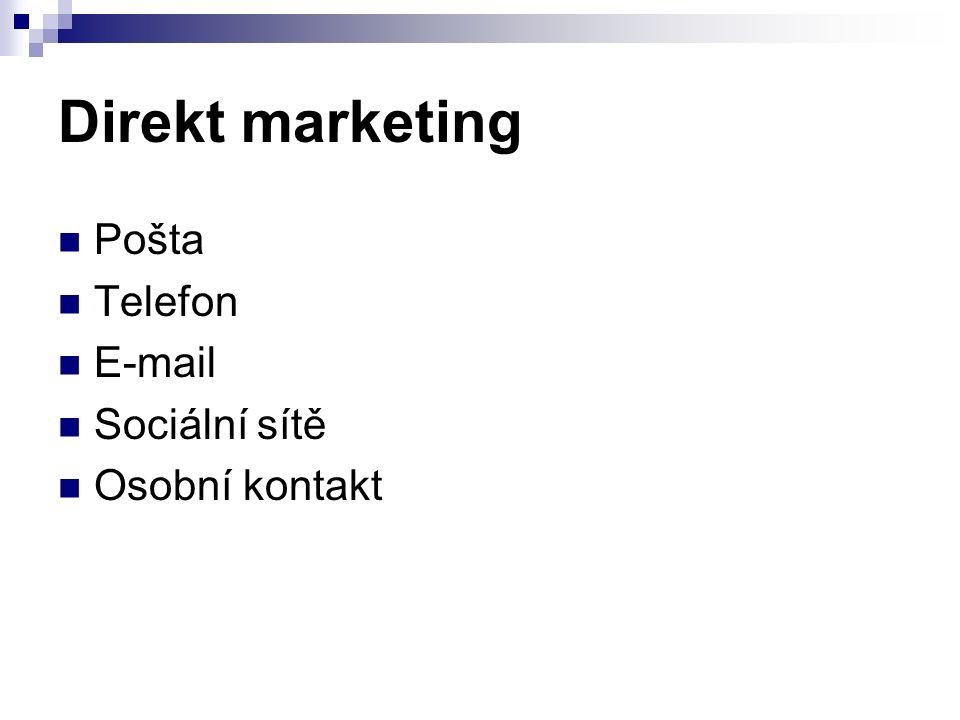 Direkt marketing Pošta Telefon E-mail Sociální sítě Osobní kontakt