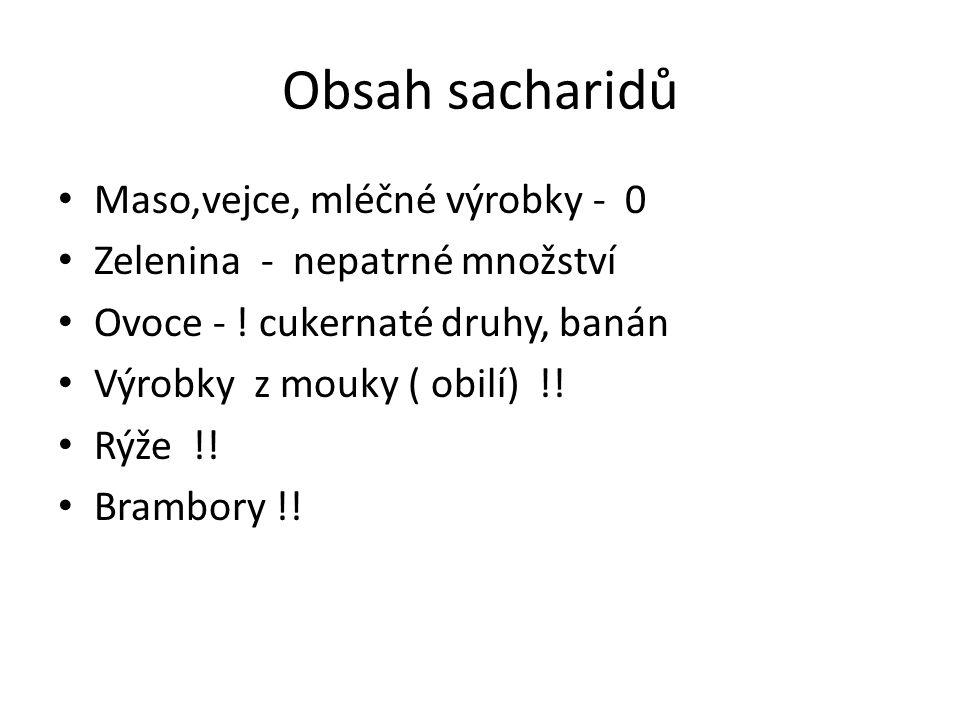Obsah sacharidů Maso,vejce, mléčné výrobky - 0 Zelenina - nepatrné množství Ovoce - .