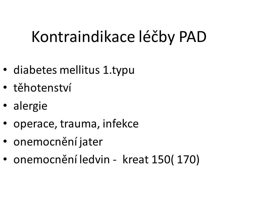 Kontraindikace léčby PAD diabetes mellitus 1.typu těhotenství alergie operace, trauma, infekce onemocnění jater onemocnění ledvin - kreat 150( 170)