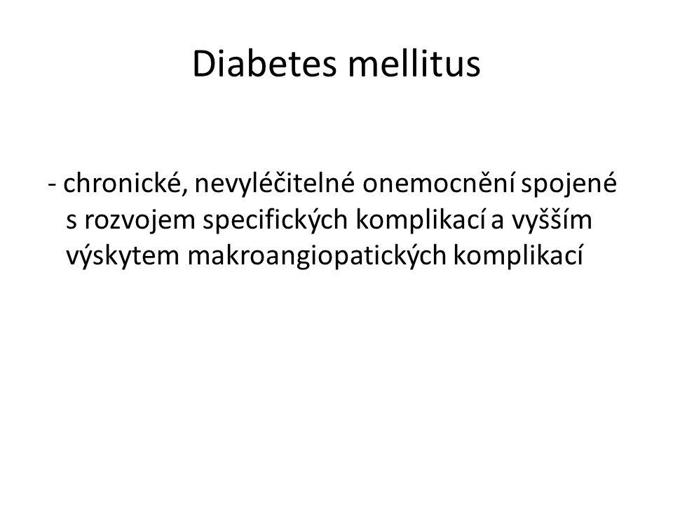 Diabetes mellitus - chronické, nevyléčitelné onemocnění spojené s rozvojem specifických komplikací a vyšším výskytem makroangiopatických komplikací