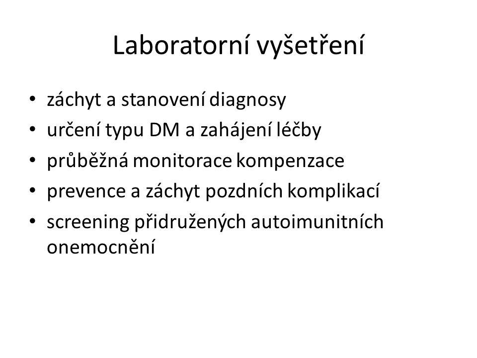 Laboratorní vyšetření záchyt a stanovení diagnosy určení typu DM a zahájení léčby průběžná monitorace kompenzace prevence a záchyt pozdních komplikací screening přidružených autoimunitních onemocnění
