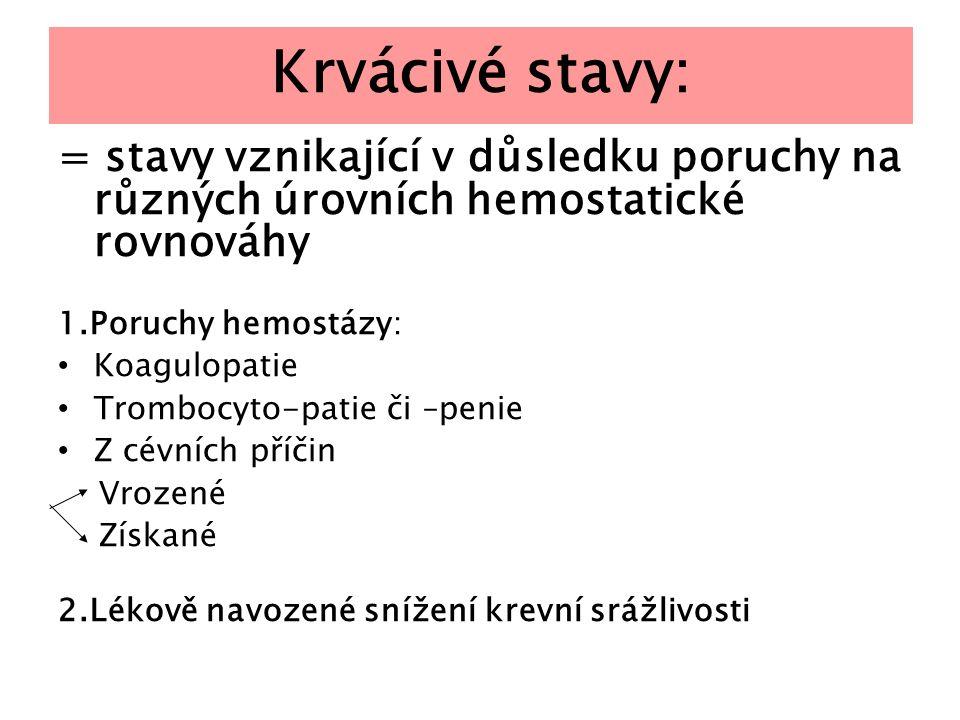 Krvácivé stavy: = stavy vznikající v důsledku poruchy na různých úrovních hemostatické rovnováhy 1.Poruchy hemostázy: Koagulopatie Trombocyto-patie či