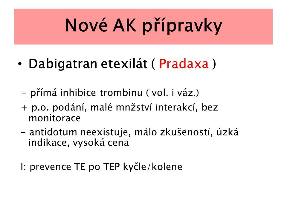 Nové AK přípravky Dabigatran etexilát ( Pradaxa ) - přímá inhibice trombinu ( vol. i váz.) + p.o. podání, malé mnžství interakcí, bez monitorace - ant