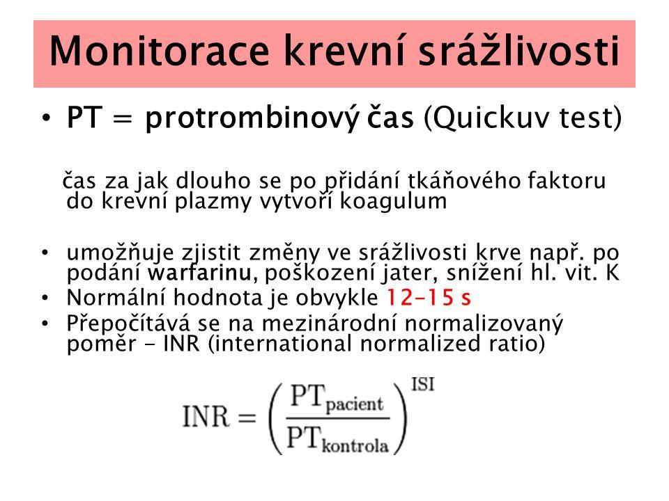Monitorace krevní srážlivosti PT = protrombinový čas (Quickuv test) čas za jak dlouho se po přidání tkáňového faktoru do krevní plazmy vytvoří koagulu