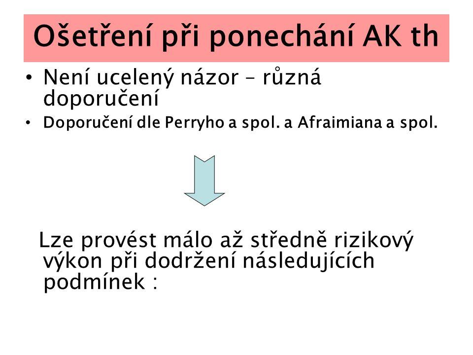 Ošetření při ponechání AK th Není ucelený názor – různá doporučení Doporučení dle Perryho a spol. a Afraimiana a spol. Lze provést málo až středně riz