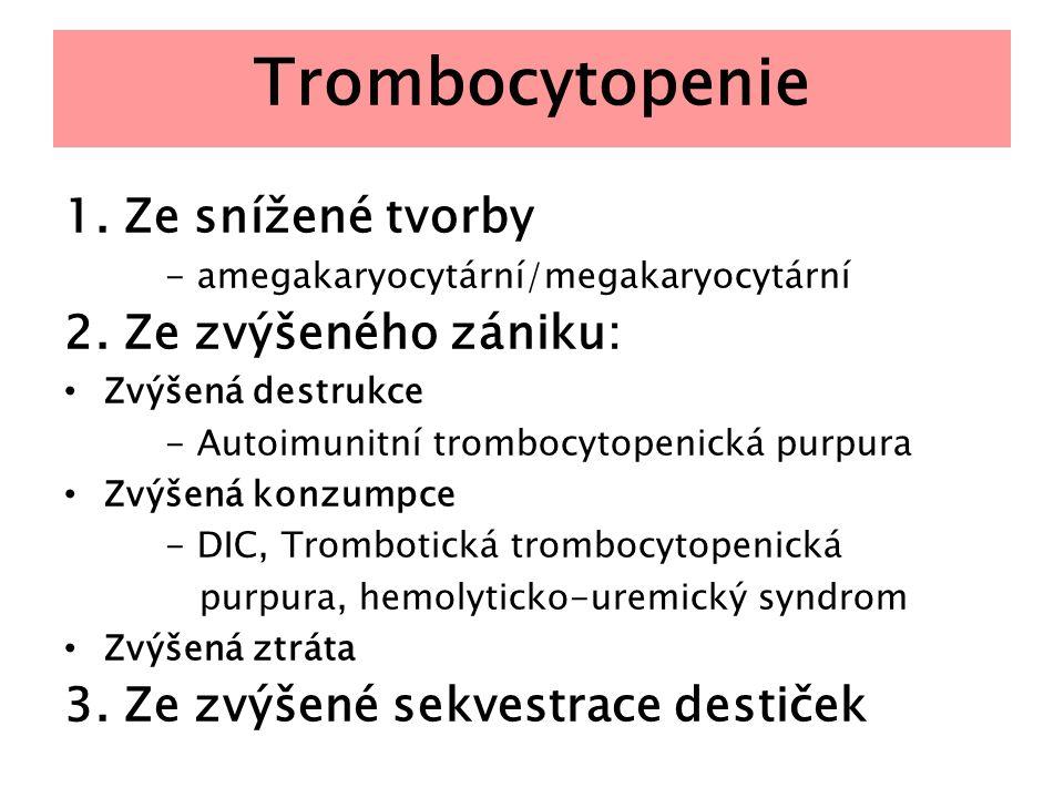 Trombocytopatie Vrozené Defekt adheze – m.von Willebrand (dest.typ) - Bernardův-Soulierův sy(odchylky povrchové membrány destiček) Defekt agregace – Glanzmannova trombastenie - Heřmanského-Pudlákův sy (porucha skladovacích granul trombocytů, pigmentofágy v kostní dřeni u albínů) Získané - myeloprolif.