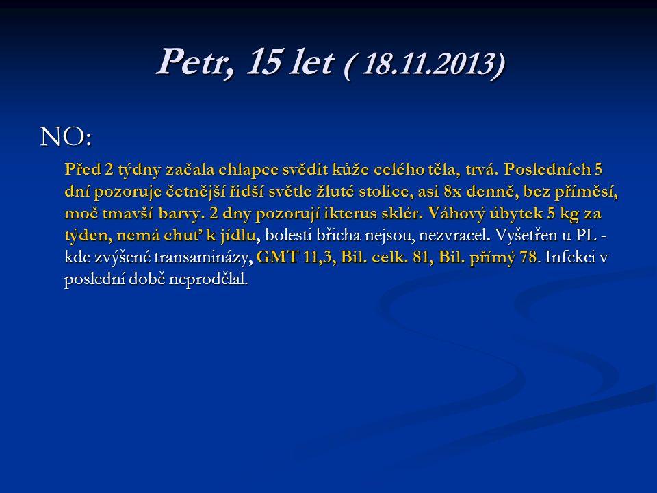 Petr, 15 let ( 18.11.2013) NO: Před 2 týdny začala chlapce svědit kůže celého těla, trvá.