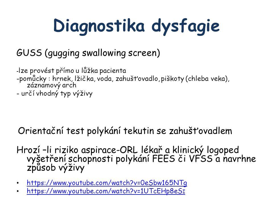 Diagnostika dysfagie GUSS (gugging swallowing screen) - lze provést přímo u lůžka pacienta -pomůcky : hrnek, lžička, voda, zahušťovadlo, piškoty (chleba veka), záznamový arch - určí vhodný typ výživy Orientační test polykání tekutin se zahušťovadlem Hrozí –li riziko aspirace-ORL lékař a klinický logoped vyšetření schopnosti polykání FEES či VFSS a navrhne způsob výživy https://www.youtube.com/watch v=0eSbw165NTg https://www.youtube.com/watch v=1UTcEHp8eS I https://www.youtube.com/watch v=1UTcEHp8eS I