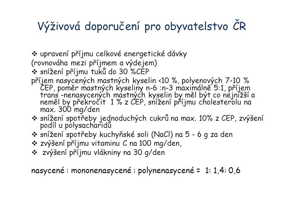 Výživová doporučení pro obyvatelstvo ČR  upravení příjmu celkové energetické dávky (rovnováha mezi příjmem a výdejem)  snížení příjmu tuků do 30 %CEP příjem nasycených mastných kyselin ‹10 %, polyenových 7-10 % CEP, poměr mastných kyseliny n-6 :n-3 maximálně 5:1, příjem trans -nenasycených mastných kyselin by měl být co nejnižší a neměl by překročit 1 % z CEP, snížení příjmu cholesterolu na max.