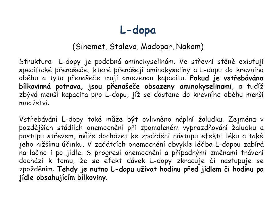 L-dopa (Sinemet, Stalevo, Madopar, Nakom) Struktura L-dopy je podobná aminokyselinám. Ve střevní stěně existují specifické přenašeče, které přenášejí