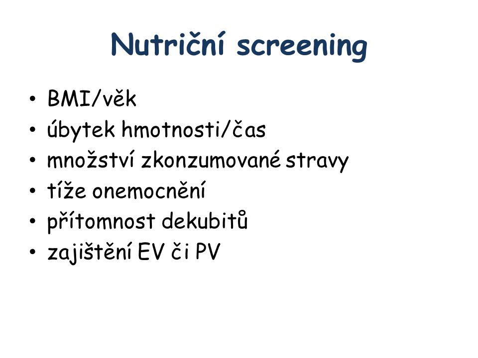 Nutriční screening BMI/věk úbytek hmotnosti/čas množství zkonzumované stravy tíže onemocnění přítomnost dekubitů zajištění EV či PV