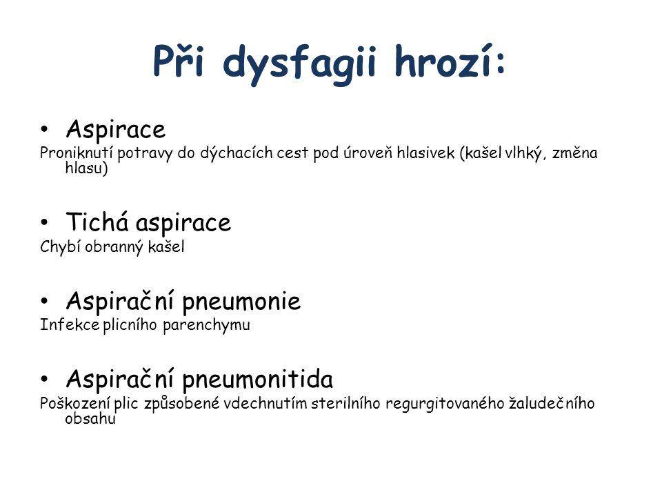 Při dysfagii hrozí: Aspirace Proniknutí potravy do dýchacích cest pod úroveň hlasivek (kašel vlhký, změna hlasu) Tichá aspirace Chybí obranný kašel Aspirační pneumonie Infekce plicního parenchymu Aspirační pneumonitida Poškození plic způsobené vdechnutím sterilního regurgitovaného žaludečního obsahu