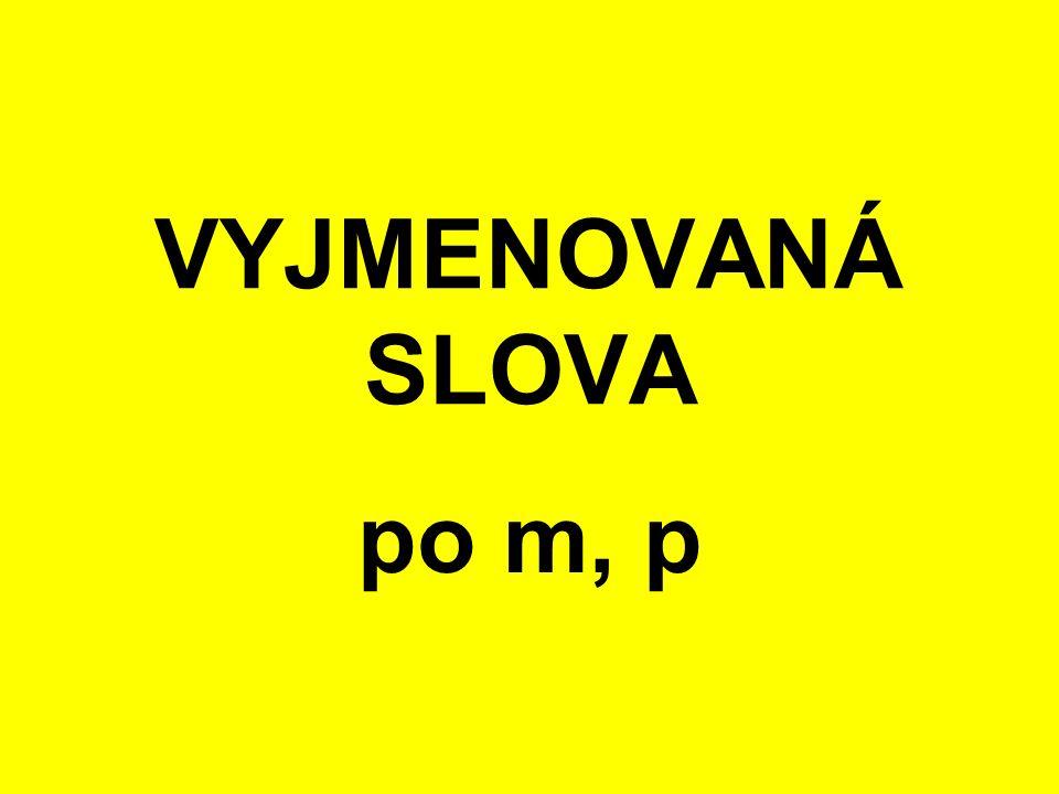 VYJMENOVANÁ SLOVA po m, p