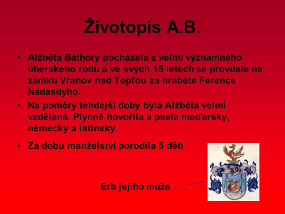Životopis A.B. Alžběta Báthory pocházela z velmi významného uherského rodu a ve svých 15 letech se provdala na zámku Vranov nad Topľou za hraběte Fere