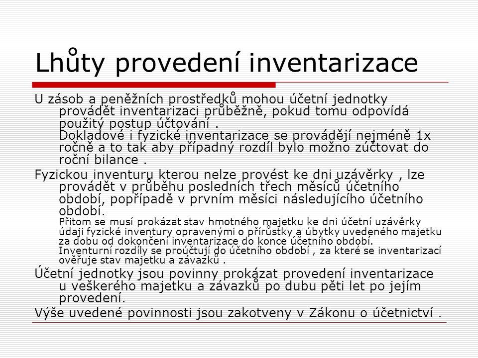Lhůty provedení inventarizace U zásob a peněžních prostředků mohou účetní jednotky provádět inventarizaci průběžně, pokud tomu odpovídá použitý postup
