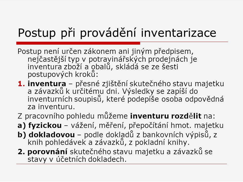 Postup při provádění inventarizace Postup není určen zákonem ani jiným předpisem, nejčastější typ v potravinářských prodejnách je inventura zboží a ob