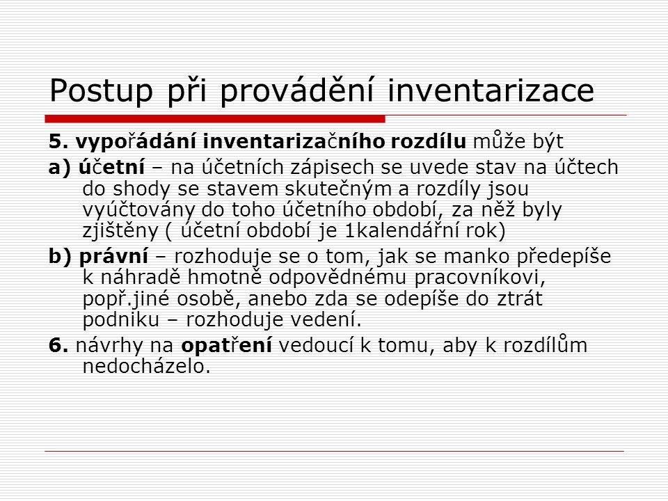 Postup při provádění inventarizace 5. vypořádání inventarizačního rozdílu může být a) účetní – na účetních zápisech se uvede stav na účtech do shody s