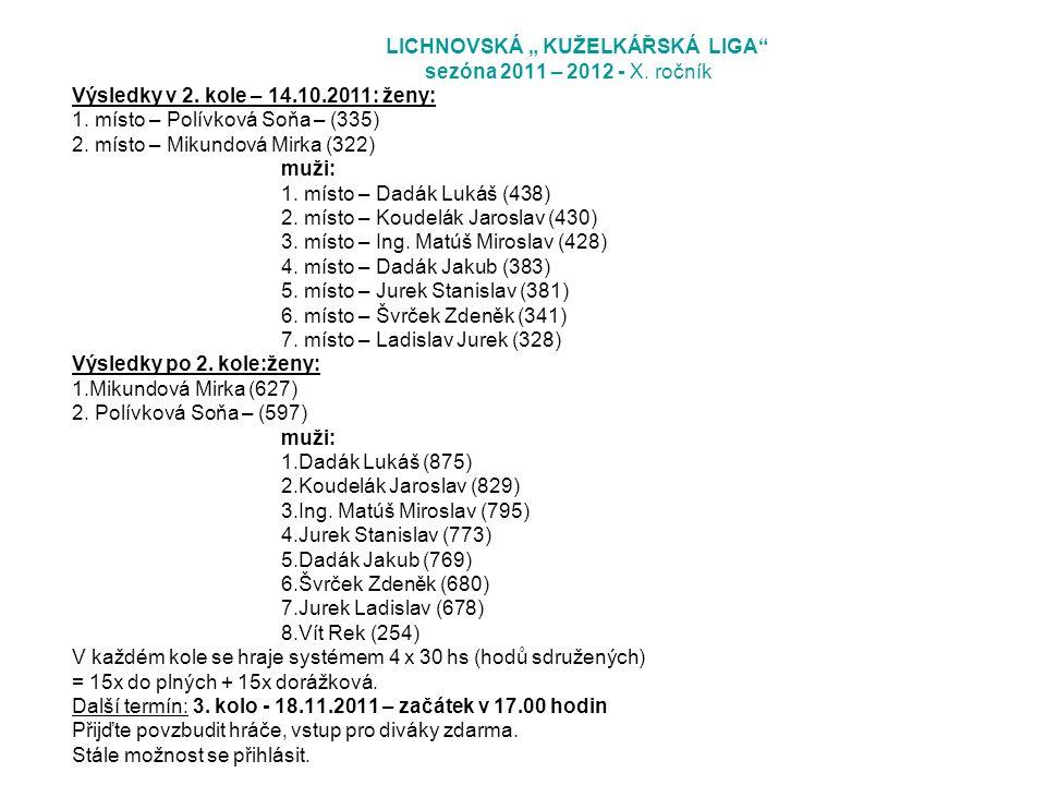 """LICHNOVSKÁ """" KUŽELKÁŘSKÁ LIGA sezóna 2011 – 2012 - X."""