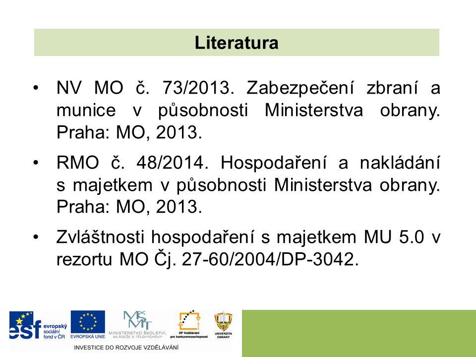 NV MO č. 73/2013. Zabezpečení zbraní a munice v působnosti Ministerstva obrany. Praha: MO, 2013. RMO č. 48/2014. Hospodaření a nakládání s majetkem v