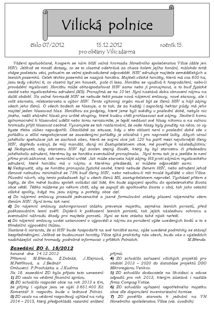 Zasedání ZO č.18/2012. konané dne 14.12.2012.