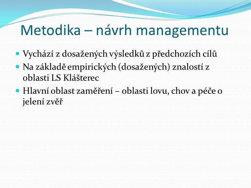 Metodika – návrh managementu Vychází z dosažených výsledků z předchozích cílů Na základě empirických (dosažených) znalostí z oblasti LS Klášterec Hlavní oblast zaměření – oblasti lovu, chov a péče o jelení zvěř