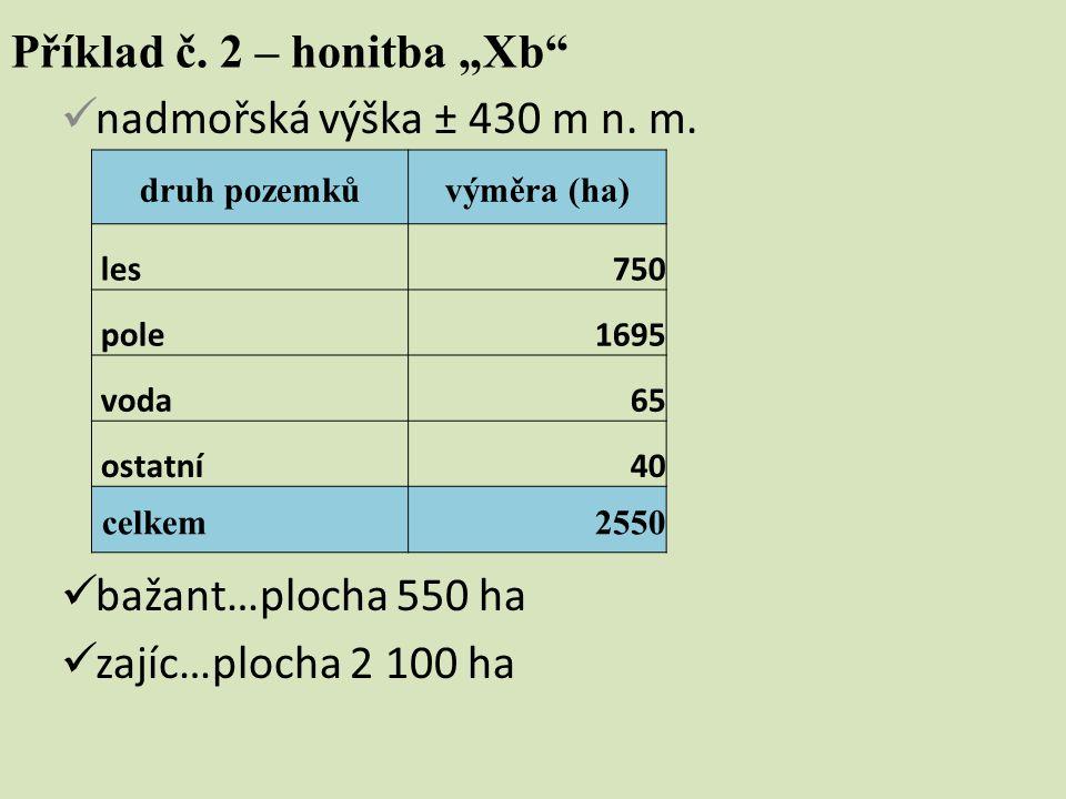 """Příklad č. 2 – honitba """"Xb"""" nadmořská výška ± 430 m n. m. bažant…plocha 550 ha zajíc…plocha 2 100 ha druh pozemkůvýměra (ha) les750 pole1695 voda65 os"""