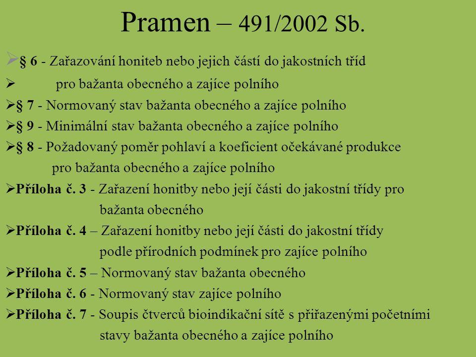Pramen – 491/2002 Sb.  § 6 - Zařazování honiteb nebo jejich částí do jakostních tříd  pro bažanta obecného a zajíce polního  § 7 - Normovaný stav b