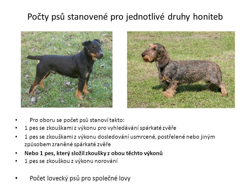 Počty psů stanovené pro jednotlivé druhy honiteb Pro oboru se počet psů stanoví takto: 1 pes se zkouškami z výkonu pro vyhledávání spárkaté zvěře 1 pe