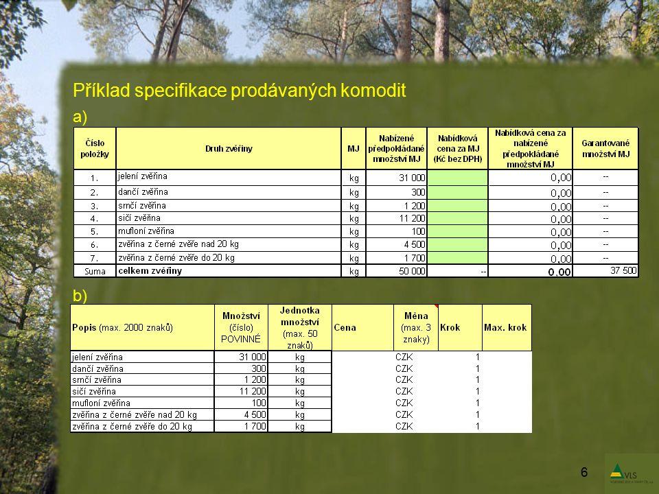 Příklad specifikace prodávaných komodit a) b) 6