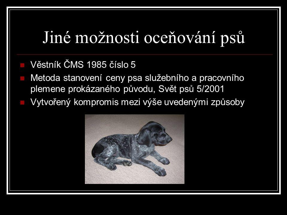 Jiné možnosti oceňování psů Věstník ČMS 1985 číslo 5 Metoda stanovení ceny psa služebního a pracovního plemene prokázaného původu, Svět psů 5/2001 Vytvořený kompromis mezi výše uvedenými způsoby